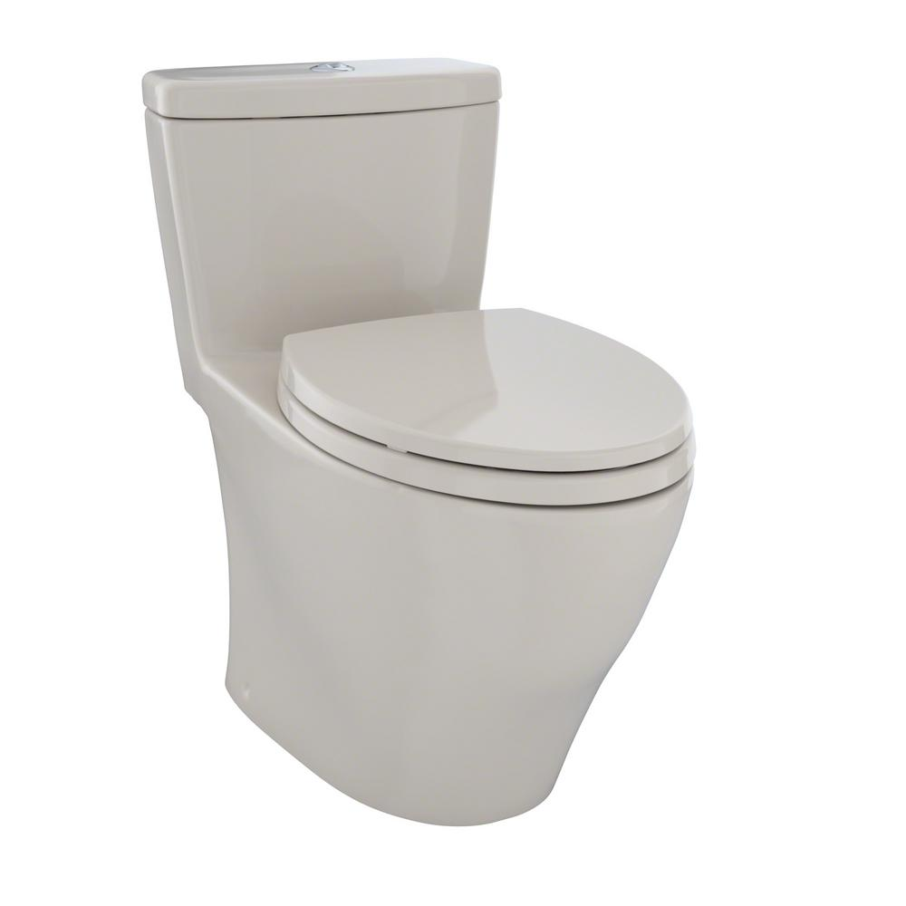 TOTO Aquia 1 Piece Elongated 09 16 GPF Dual Flush Skirted Toilet In Bone MS654114MF03