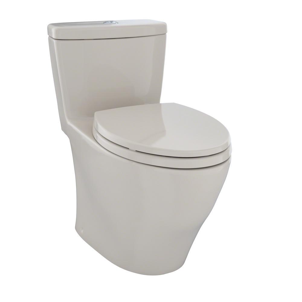 TOTO Aquia 1 Piece Elongated 09 16 GPF Dual Flush Skirted Toilet In Bone MS654114MF03
