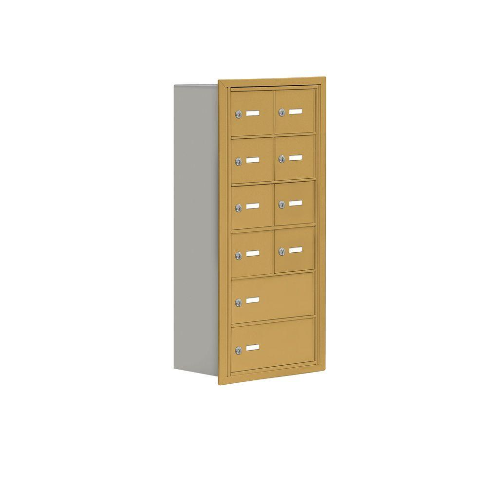 Salsbury Industries 19000 Series 17.5 in. W x 36.5 in. H x 8.75 in. D 8 A / 2 B Doors R-Mount Keyed Locks Cell Phone Locker in Gold