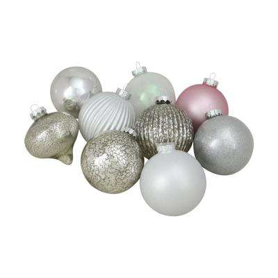 4 in. (100 mm) Silver and Pink Multi-Finish Ball and Onion Shaped Christmas Ornaments (9-Count)