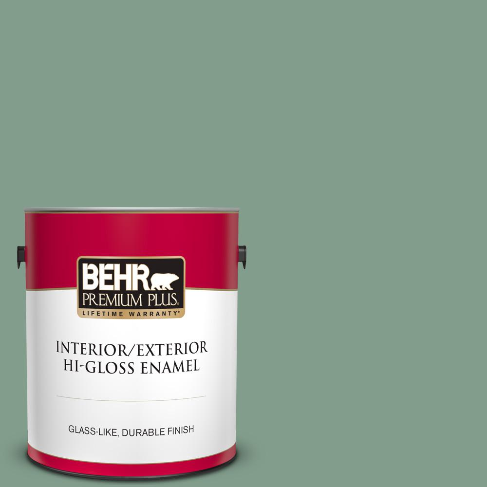 Behr Premium Plus 1 Gal S410 5 Track Green Hi Gloss Enamel Interior Exterior Paint 840001 The Home Depot