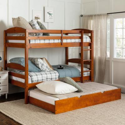 Solid Wood Twin over Twin Bunk Bed + Storage/Trundle Bed - Cherry