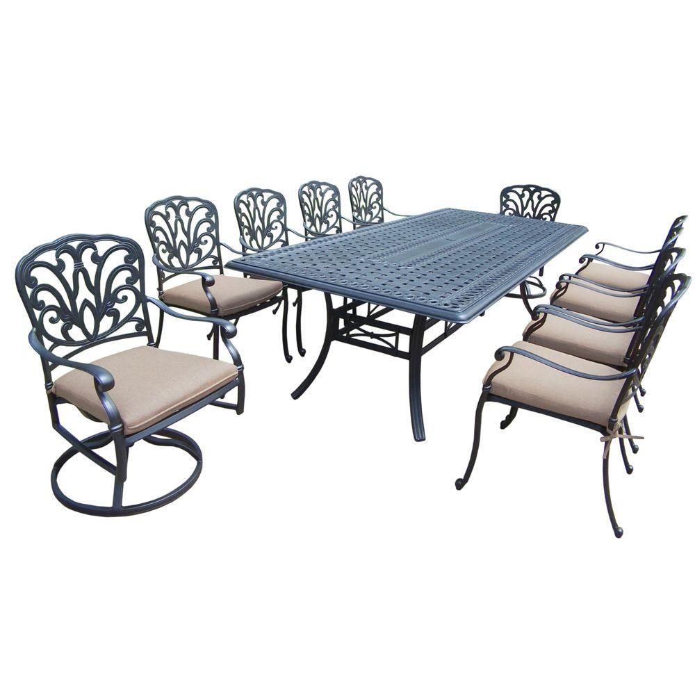 Cast Aluminum 11-Piece Rectangular Patio Dining Set with SpunPoly Beige Cushions