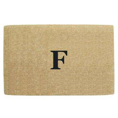 No Border 22 in. x 36 in. Heavy Duty Coir Monogrammed F Door Mat