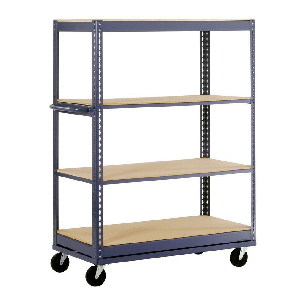 66 in. H x 48 in. W x 24 in. D 4-Shelf Mobile Steel Commercial Shelving Unit in Gray