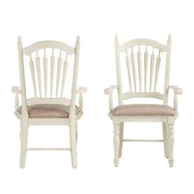 Margot Antique White Wood Dining Chair (Set of 2) - HomeSullivan - White - Dining Chairs - Kitchen & Dining Room