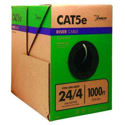 1,000 ft. Gray 24/4 Solid CU CAT5e CMR (Riser) Data Cable