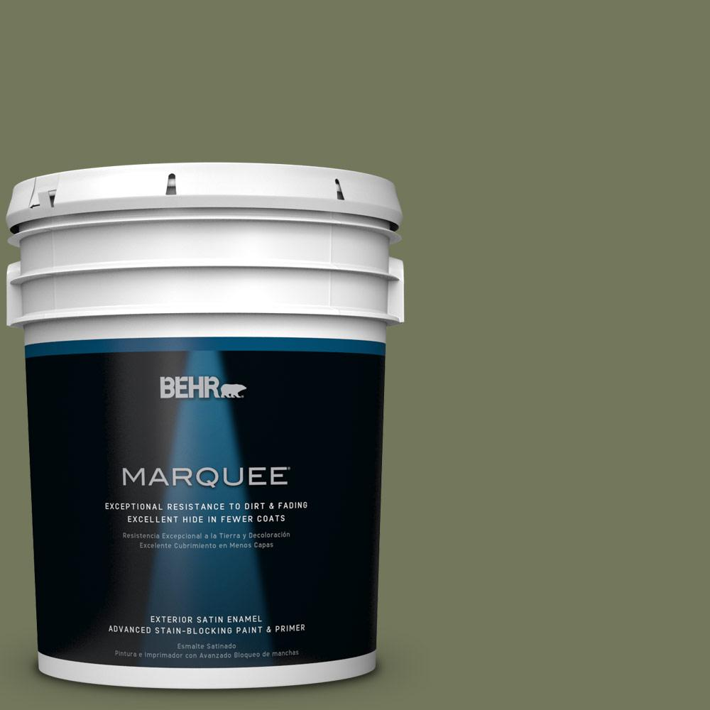BEHR MARQUEE 5-gal. #bic-56 Jalapeno Satin Enamel Exterior Paint, Greens