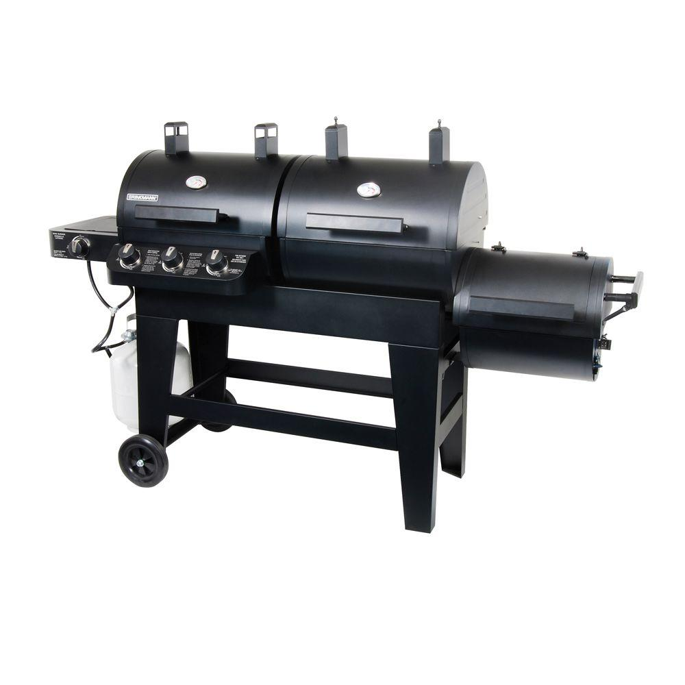 Brinkmann Dual Function Propane Gas and Charcoal Grill/Smoker with Free Offset Firebox
