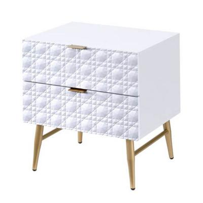 2-Drawers White and Gold Wooden Nightstand