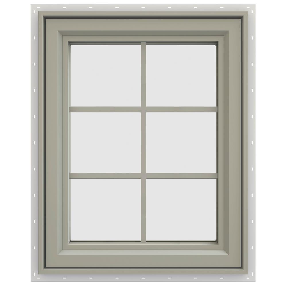 23.5 in. x 29.5 in. V-4500 Series Left-Hand Casement Vinyl Window with Grids - Tan