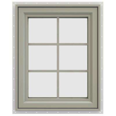 23.5 in. x 35.5 in. V-4500 Series Right-Hand Casement Vinyl Window with Grids - Tan