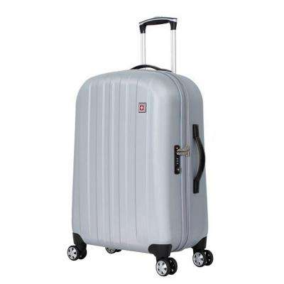 24 in. Upright Hardside Spinner Suitcase in Silver