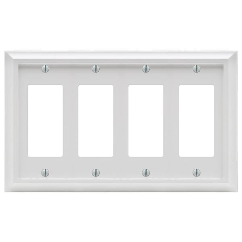 Deerfield 4 Gang Rocker Composite Wall Plate - White