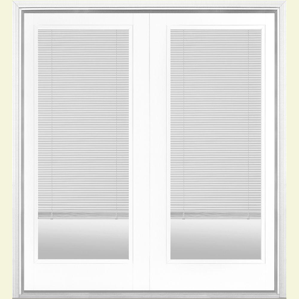 Masonite 60 in. x 80 in. Ultra White Prehung Left-Hand Inswing Mini Blind Steel Patio Door with Brickmold