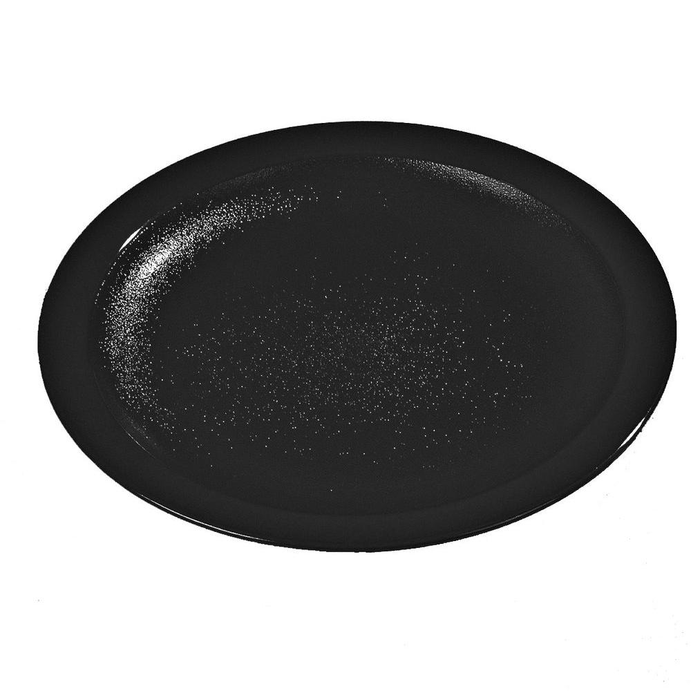 10.0 in. Diameter Polycarbonate Narrow Rim Commercial Dinnerware Plate Black