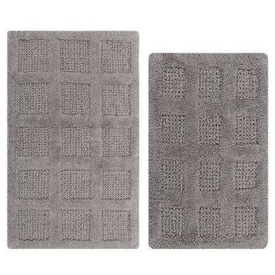17 in. x 24 in. and 20 in. x 30 in. Silver Square Honey Comb Reversible Bath Rug Set (2-Piece)
