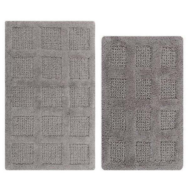PERTHSHIRE Silver 21 in. x 34 in. and 24 in. x 40 in. Square Honey Comb Reversible Bath Rug Set (2-Piece)
