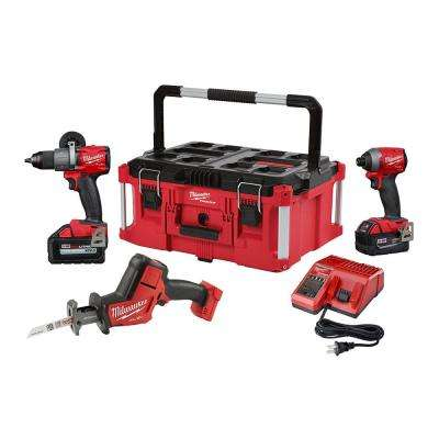 M18 FUEL 18-Volt Lithium-Ion Brushless Cordless Combo Kit (3-Tool) W/ One 6.0Ah and 5.0Ah Battery and PACKOUT Case