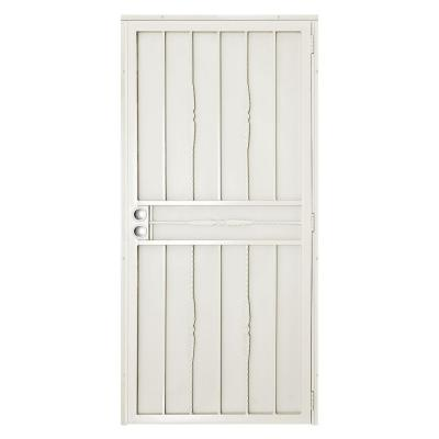 32 in. x 80 in. Cottage Rose Navajo White Surface Mount Outswing Steel Security Door with Expanded Metal Screen