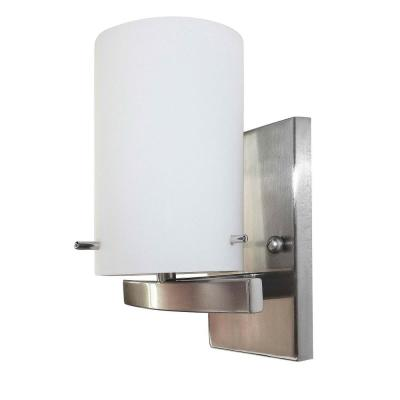 1-Light Brushed Nickel Vanity Lighting with White Frosted Glass