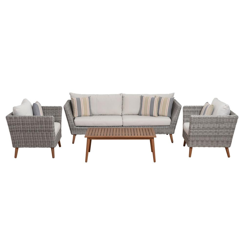 Wicker Conversation Set Light Grey Cushions