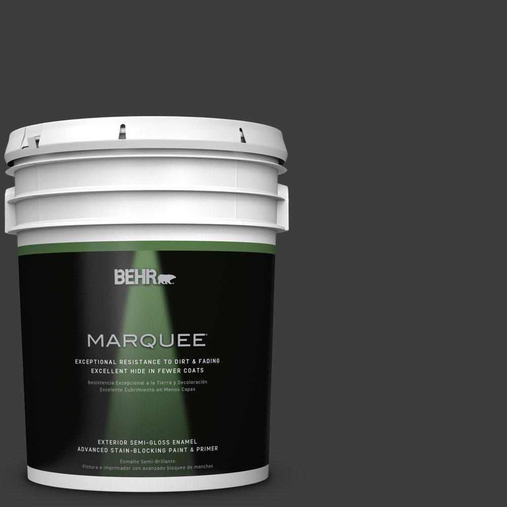 5-gal. #S-H-790 Black Suede Semi-Gloss Enamel Exterior Paint