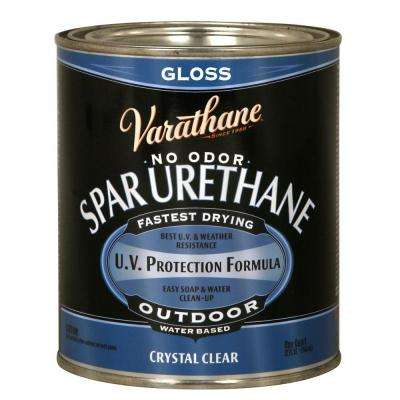 1-qt.Clear Gloss Water-Based Exterior Spar Urethane (Case of 2)
