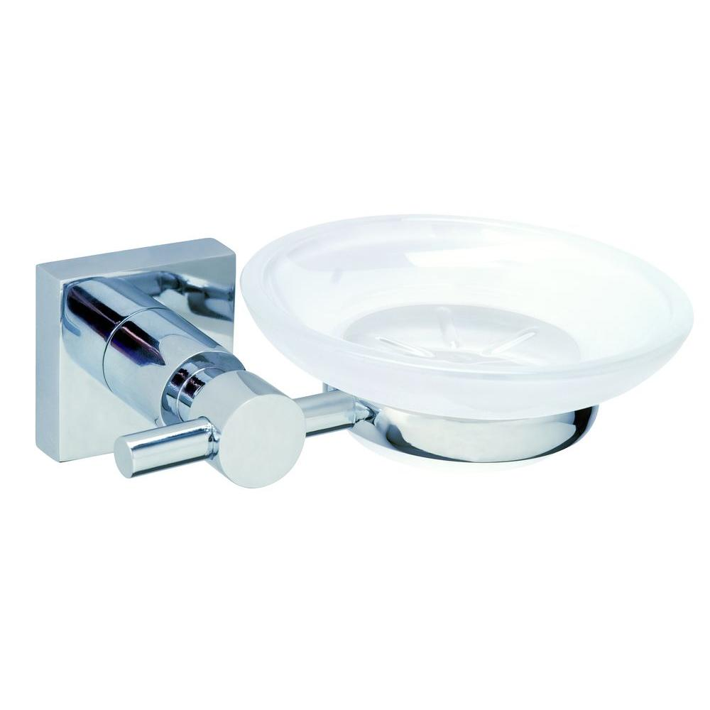 Exceptionnel No Drilling Required Hukk Wall Mount Soap Dish Holder With Frosted Glass In  Chrome