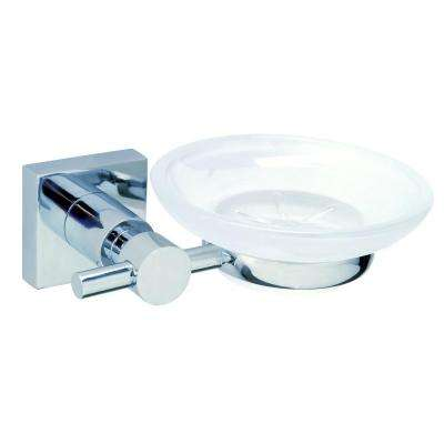 Hukk Wall Mount Soap Dish Holder with Frosted Glass in Chrome