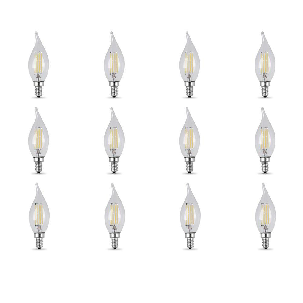 40-Watt Equivalent (5000K) CA10 Candelabra Dimmable Filament LED Clear Glass