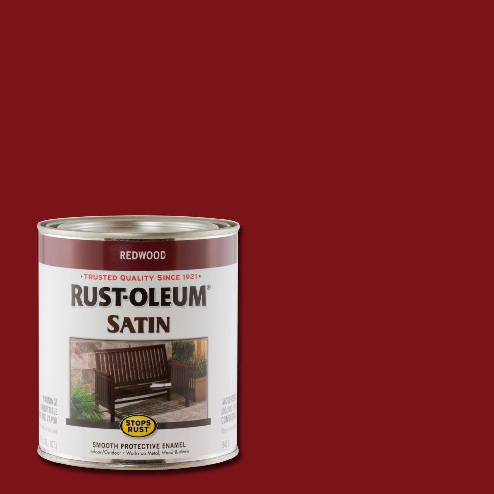 1 qt. Protective Enamel Satin Redwood Interior/Exterior Paint (2-Pack)