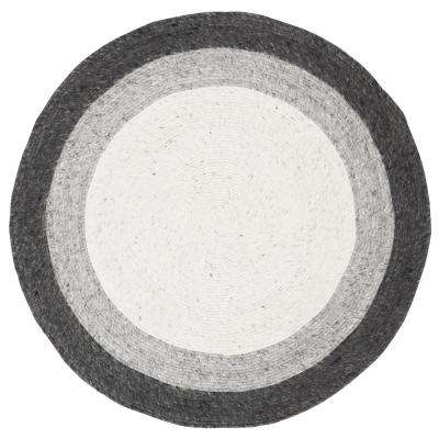 Braided Gray/Ivory 3 ft. x 3 ft. Round Area Rug