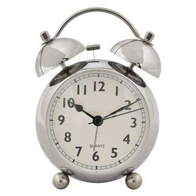 6 in. Silver Metal Alarm Clock