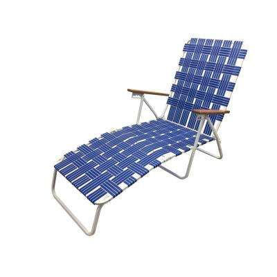 Classic Webbed Blue Folding Chaise Lounger Camp/Lawn Chair