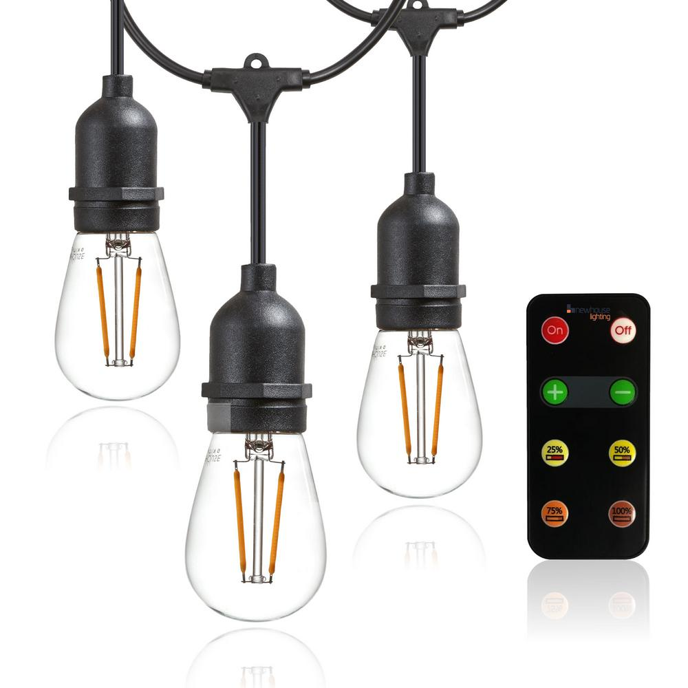 Outdoor Led String Lights With Remote Controlled Dimmer S14 Filament Light Bulbs Included