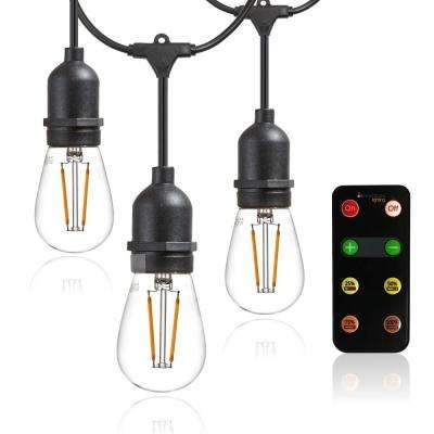 Outdoor Led String Lights With Remote Controlled Dimmer S14 Filament