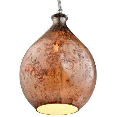French Quarter 1-Light Chrome Pendant with Red Copper Glass Shade