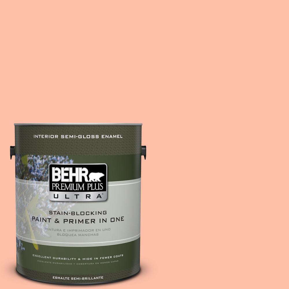 BEHR Premium Plus Ultra 1-gal. #220A-3 Sweet Apricot Semi-Gloss Enamel Interior Paint