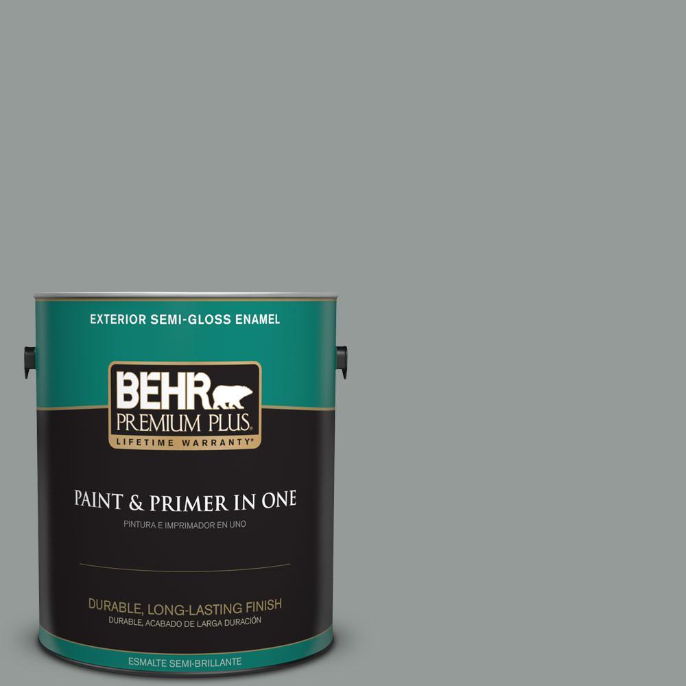 1-gal. #BXC-66 Dusk Blue Semi-Gloss Enamel Exterior Paint