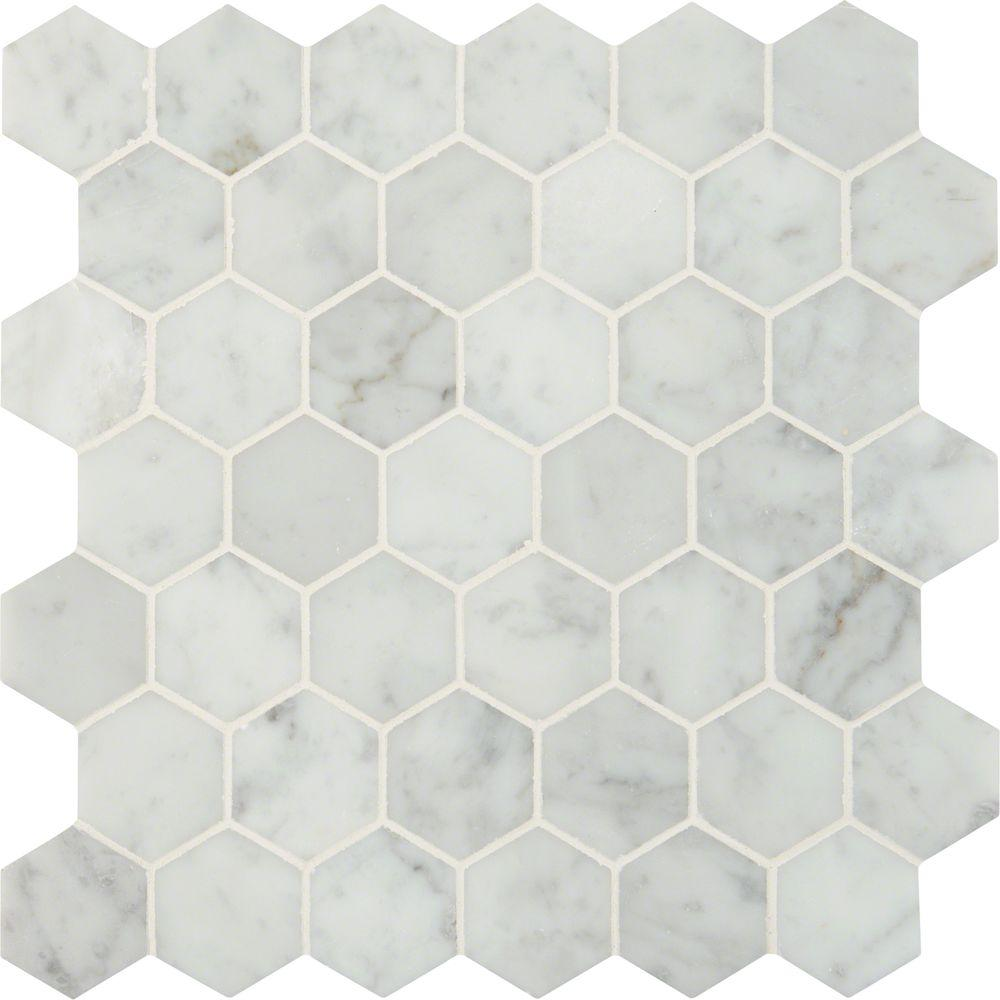 Msi Carrara White Hexagon 12 In X 10mm Polished Marble Mesh