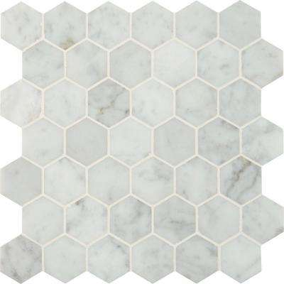 Carrara White Hexagon 12 In. X 12 In. X 10 Mm Polished Marble Mesh