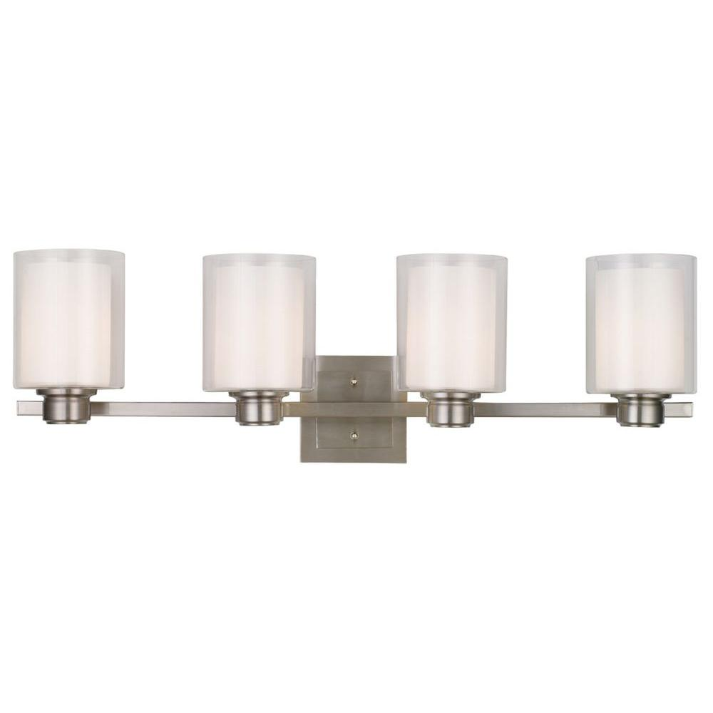Design House Oslo 4 Light Brushed Nickel Vanity Light 556167 The Home Depot