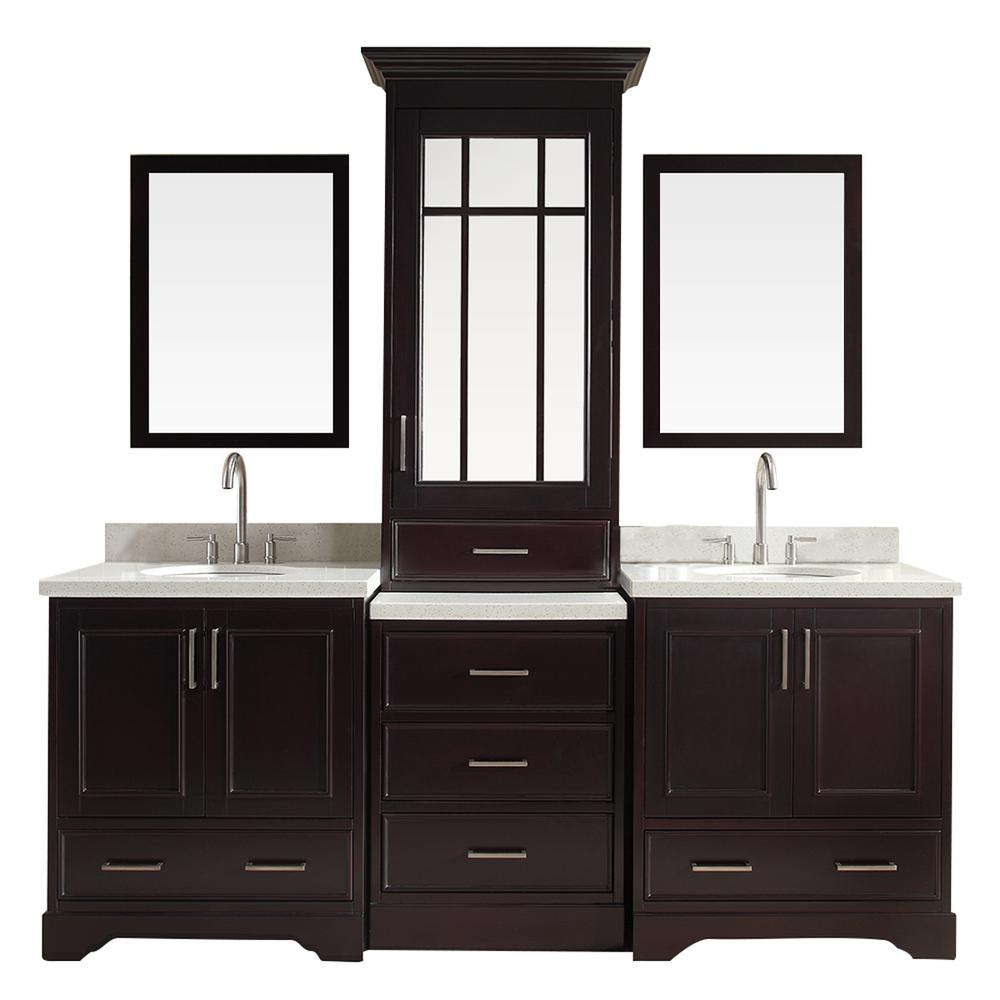Ariel Stafford 85 In Vanity In Espresso With Quartz Vanity Top In