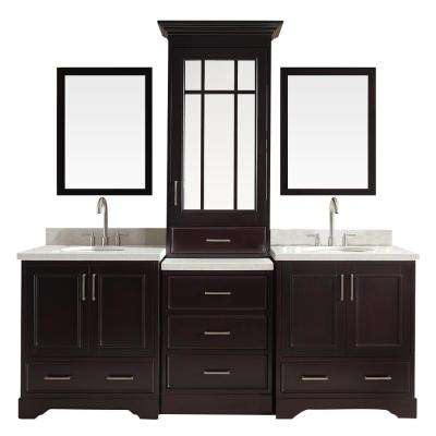 Stafford 85 in. Bath Vanity in Espresso with Quartz Vanity Top in White with Under-Mount Basins and Mirrors