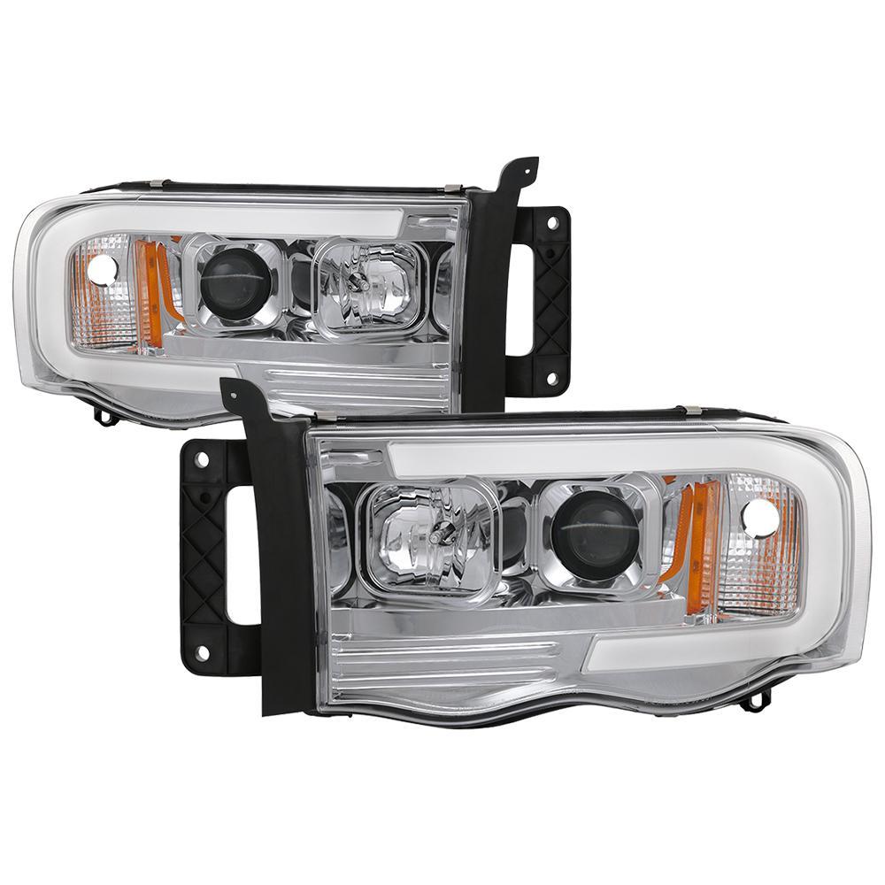 Dodge Ram 1500 02 05 2500 3500 03 Version 2 Projector Headlights Light Bar Drl Chrome