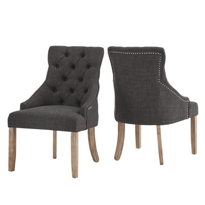 Dark Grey Linen Curved Back Tufted Dining Chair (Set of 2)