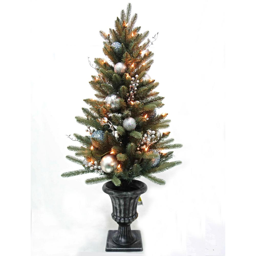 pre lit decorated blue spruce potted artificial christmas tree
