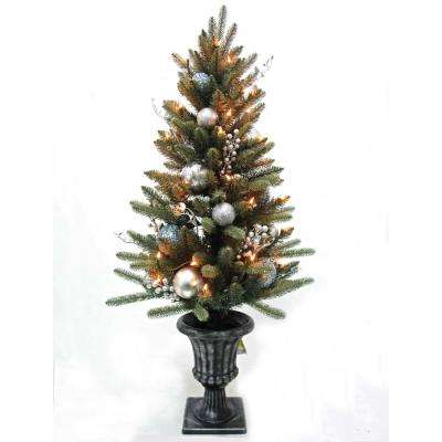4 ft. Pre-Lit Decorated Blue Spruce Potted Artificial Christmas Tree with 50-Clear Lights