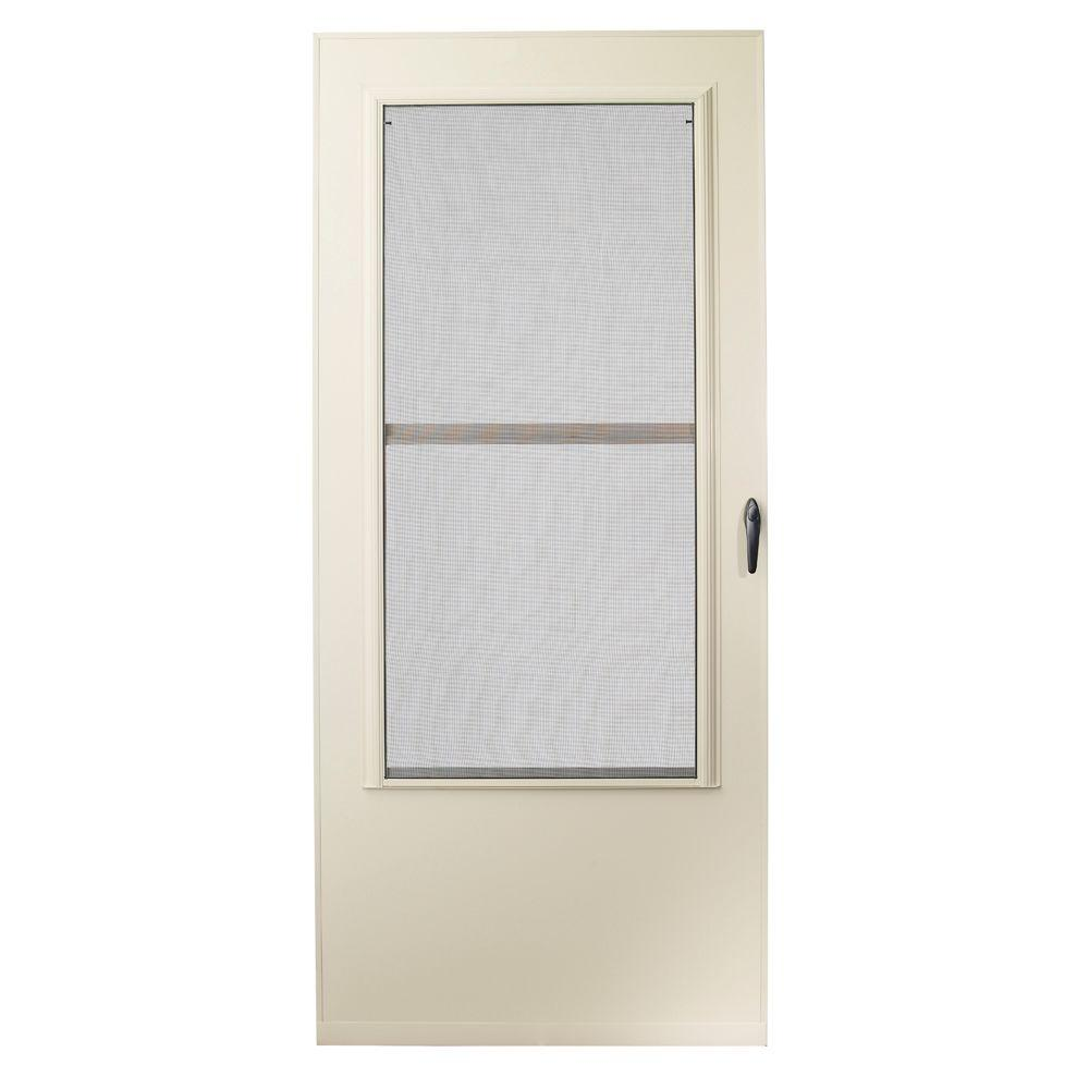 EMCO 32 in. x 80 in. 200 Series Almond Universal Triple-Track Aluminum Storm Door